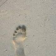 Footprint In Sand On Beach Art Print by Sami Sarkis