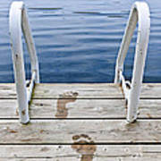 Footprints On Dock At Summer Lake Art Print