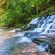 Forest Stream And Waterfall Art Print