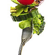 Fresh Vegetables On A Fork Art Print by Elena Elisseeva