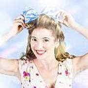 Friendly Female Pin-up Wearing Hair Accessories  Art Print