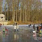 Frozen Lake Krefeld Germany. Art Print by David Davies