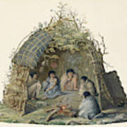 Fuegans In Their Hut, 18th Century Art Print