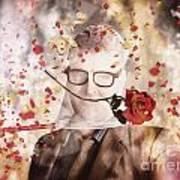 Funny Valentine Nerd Caught In Net Of Romance  Art Print