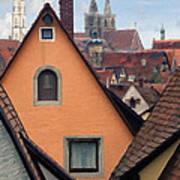 German Rooftops Impasto Art Print