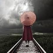 Girl On Tracks Art Print