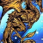 Gold Metal Dragon Art Print