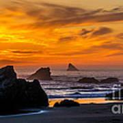 Golden Harris Beach Sunset - Oregon Art Print