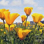 Golden Poppies Impasto Art Print