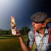Golf Ball Flames Art Print