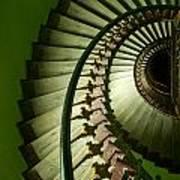 Green Spiral Staircase Art Print