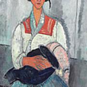 Gypsy Woman With Baby Art Print by Amedeo Modigliani