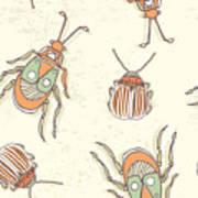 Hand Drawn Beetles Seamless Pattern Art Print