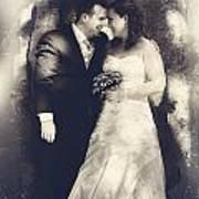 Happy Bride And Groom In A Wedding Romance 1 Art Print