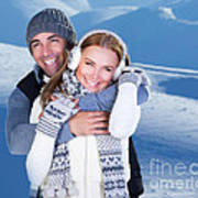 Happy Couple Playing Outdoor At Winter Mountains Art Print