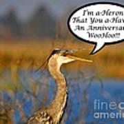 Happy Heron Anniversary Card Art Print