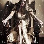 Haunting Horror Scene With A Strange Vampire Girl  Art Print