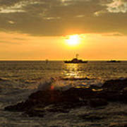 Hawaiian Waves At Sunset Art Print