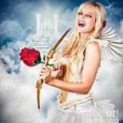 Heavenly Angel Of Love With Flower Arrow Art Print