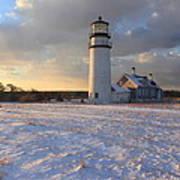 Highland Lighthouse Winter Sunset Art Print
