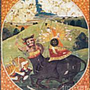 Hindu Goddess Durga Fights Mahishasur Art Print