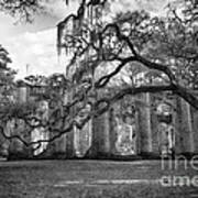 Historic Sheldon Church 4 Bw Art Print