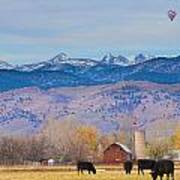 Hot Air Balloon Rocky Mountain County View Art Print