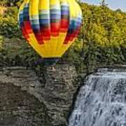 Hot Air Ballooning Over The Middle Falls At Letchworth State Par Art Print