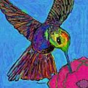 Hummingbird On Blue Art Print