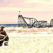 Hurricane Sandy Fireman Art Print by Jessica Cirz