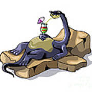 Illustration Of A Brontosaurus Print by Stocktrek Images