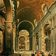 Interior Of St Peters In Rome Art Print by Giovanni Paolo Panini