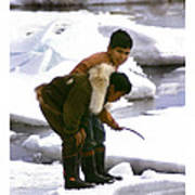 Inuit Boys Ice Fishing Barrow Alaska July 1969 Art Print