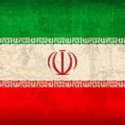 Iran Flag Vintage Distressed Finish Art Print