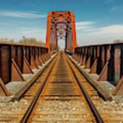 Iron Railroad Bridge Over Water, Texas Art Print