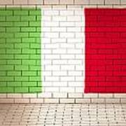Italy Flag Brick Wall Background Art Print
