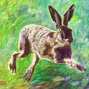Joyful Hare Art Print