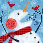 Joyful Snowman Art Print