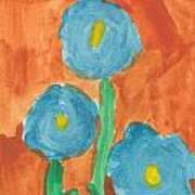 Kid Watercolor Drawing - Three Flowers Art Print