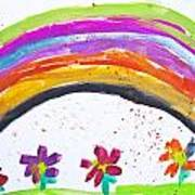 Kid's Drawing With Flowers And Colorful Rainbow Art Print