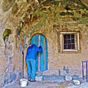 Knocking On A Blue Door Of Tufa Home In Goreme In Cappadocia-turkey  Art Print