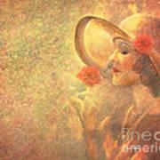 1-lady In The Flower Garden Art Print