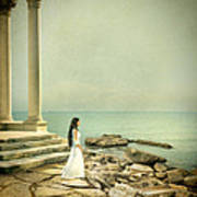 Lady In White By The Sea Art Print