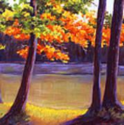 Lake Trees Print by MaryAnn Stafford