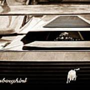 Lamborghini Rear View Emblem Art Print