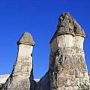 Landscape Of Limestone Fairy Chimneys At Zelve In Cappadocia Turkey Art Print