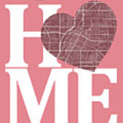Las Vegas Street Map Home Heart - Las Vegas Nevada Road Map In A Art Print