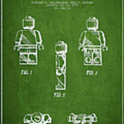 Lego Toy Figure Patent - Green Art Print by Aged Pixel