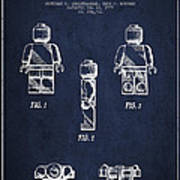 Lego Toy Figure Patent - Navy Blue Art Print by Aged Pixel