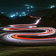 Light Trails Of Cars On The Zigzag Way Art Print
